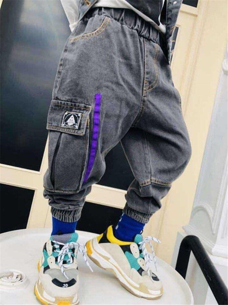 2 3 4 5 6 Jahre Jungen Jeans Seite Streifen Große Tasche Pluderhosen Elastische Taille Casual Denim Hosen Frühling Herbst Jungen Hosen 2019 Billigverkauf 50%