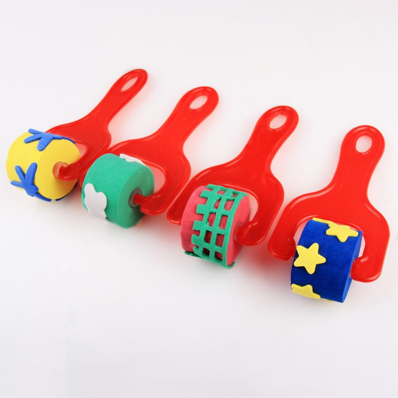 4pcs EVA Sponge Roller Paintbrush Paint Graffiti For Children Kids Drawing Kindergarten Art YJS Dropship