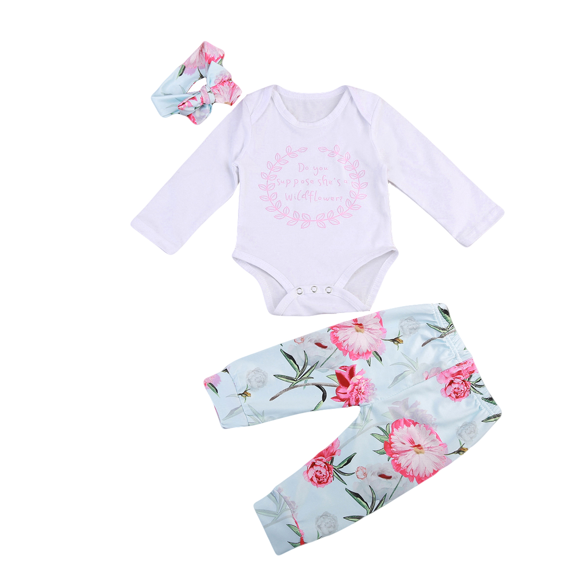 Newborn Infant Baby Girl Clothes Jumpsuit Long Sleeve Romper Floral Pants Headband Outfit Clothes Set