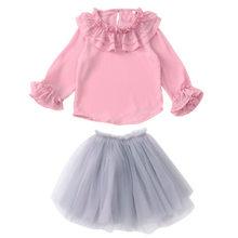 4468b1261 2019 nueva primavera verano de gasa de encaje bebé niño niñas conjuntos de ropa  blusa + falda ropa de los niños de manga larga c.