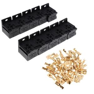 Image 2 - 20 piezas de soportes de enchufe de relé de 5 pines automotrices con terminales de cobre de 6,3mm
