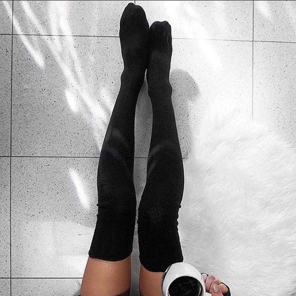 ผู้หญิงฤดูหนาวผ้าฝ้ายถักหนาถักเข่าเข่ารองเท้าบู๊ตยาวขนสัตว์อบอุ่นต้นขาถุงน่องสูง Pantyhose ขาอุ่นสีดำสีเทา