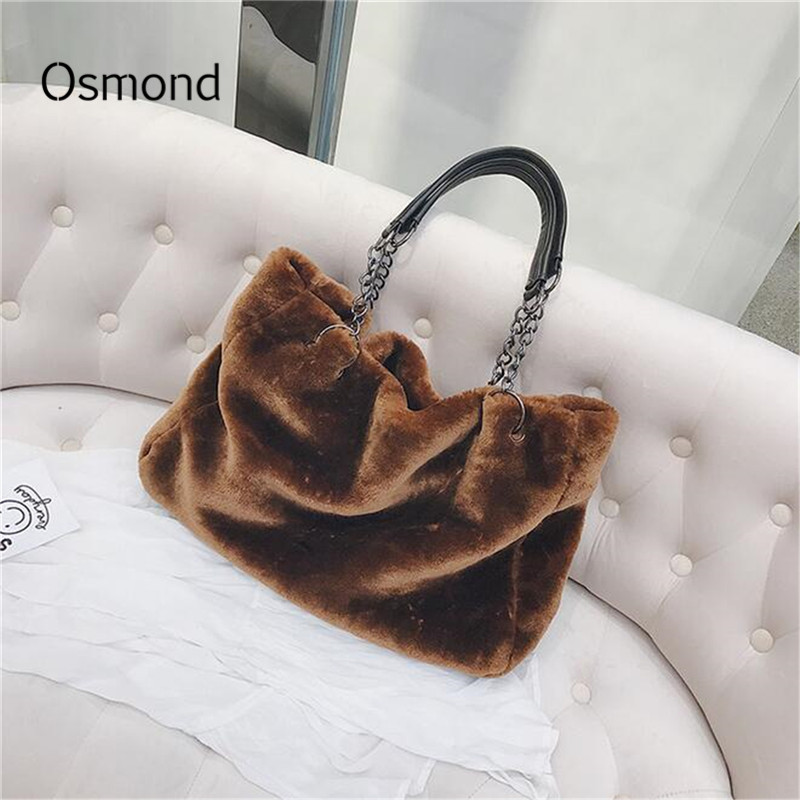 Osmond Women Soft Faux Fur Handbags Large Casual Shopping Shopper Bags Female Tote Travel Plush Shoulder Bags Chain Winter Bags