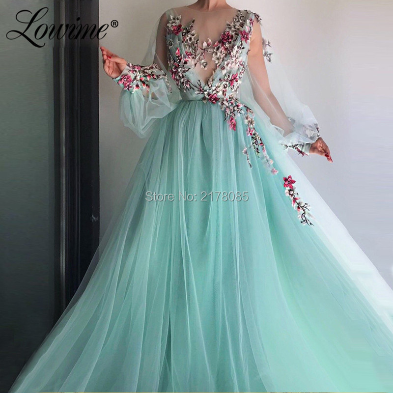 Embroidery Evening Dress Handmade Couture Prom Dresses 2019 Vestido De Festa Arabic Dubai Party Gowns Long Sleeves Formal Dress