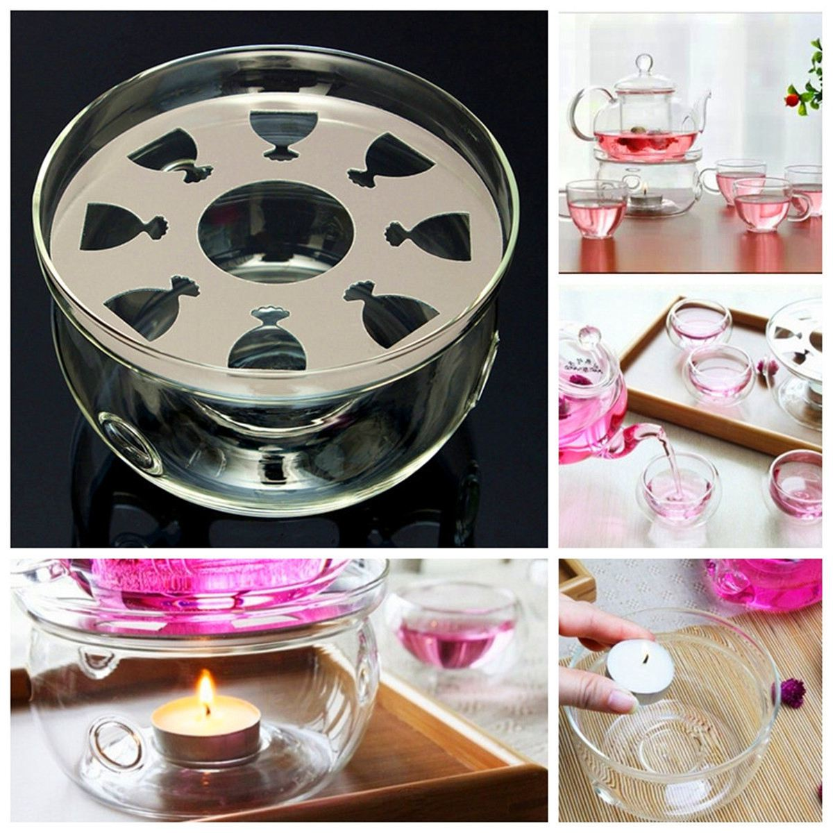 BMBY-Heat-Resisting Teapot Warmer Base Clear Glass Round Shape Insulation Tealight