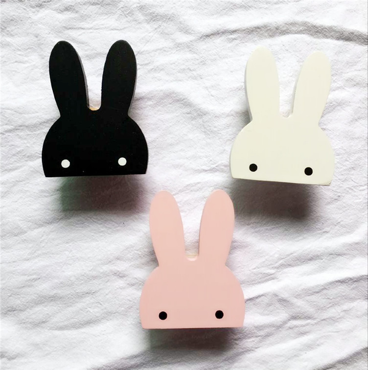 Hat Cute Children Room Wooden Hook Wall Mounted Accessories Stickers DIY Nordic Style Clothes Multifunctional Rabbit Decor Home