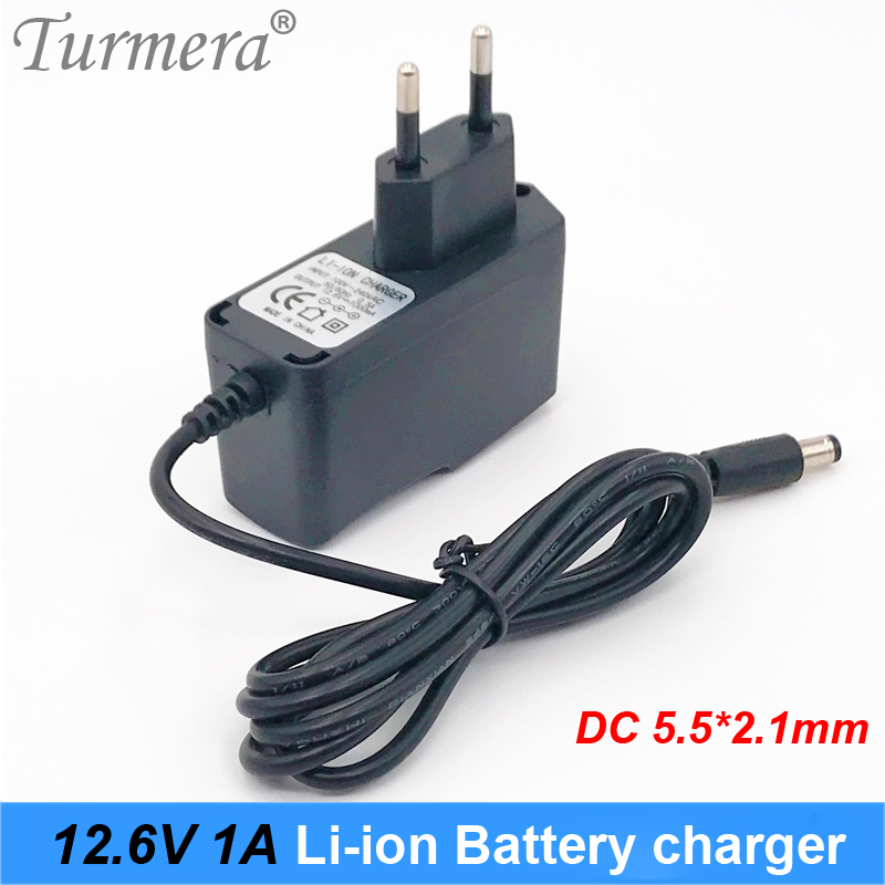12.6v 12v battery charger for lithium battery charger 12v 1a with dc 5.5*2.1 for shura screwdriver battery eu plug Turmera