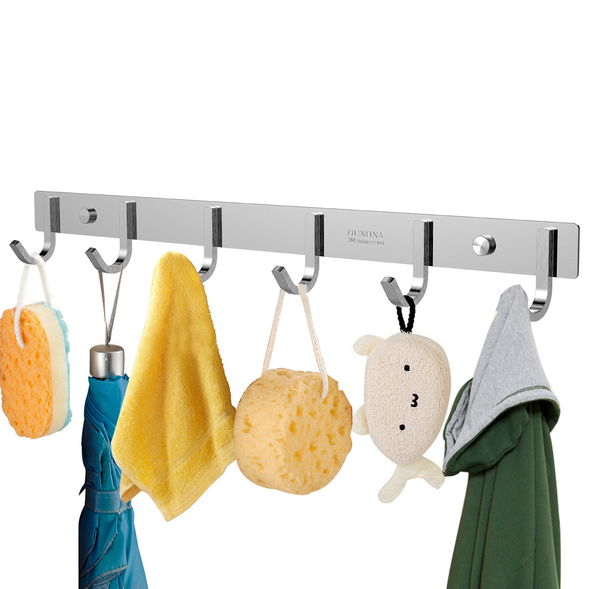 Ambitious Sturdy Hook Stainless Steel 304 Hook Rail Coat Rack With 6 Hooks Home Storage & Organization For Bedroom Superior Performance Home Improvement Robe Hooks