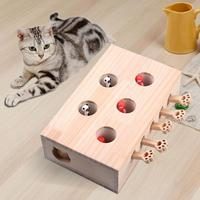 Funny Cat Toy Mouse Solid Wooden Interactive Maze Pet Hamster Five Holes Mouse Hole Catch Bite Pet Seat Scratch Toy Products