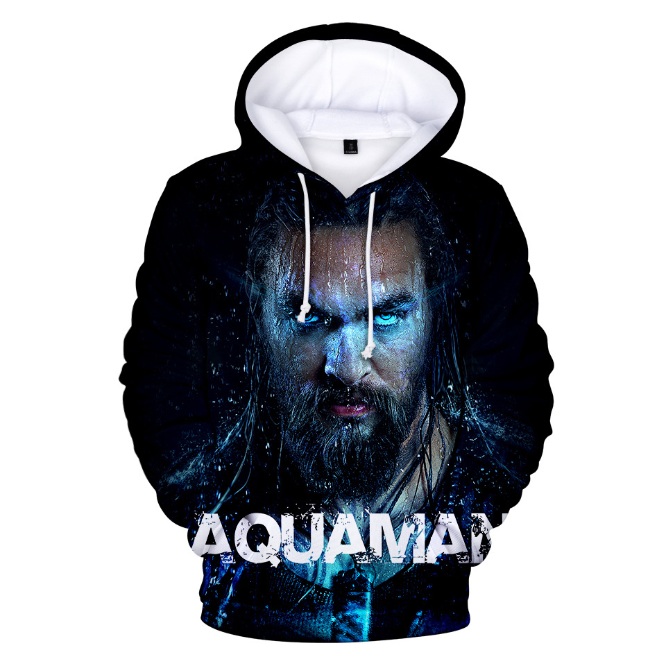 Movie Aquaman 3D Print Hoodies Aquaman Men Hoodie with Hat Round Neck Loose Sweatshirt Pullover Sudaderas Para Hombre Streetwear