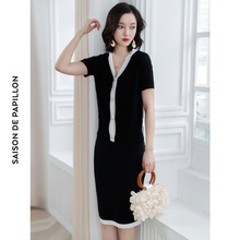 2019 Summer new arrival French retro knitted skirt and t-shirt two-piece slim design suit women SJ1481