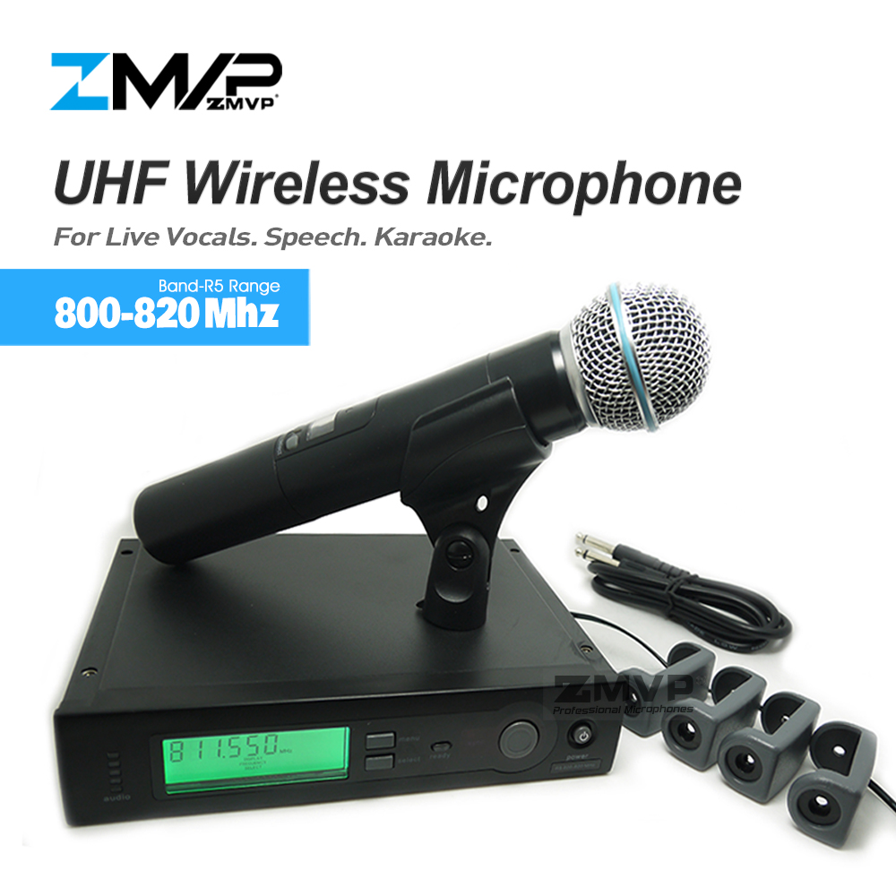 ZMVP UHF Professional SLX24 BETA58 Wireless Microphone Cordless SLX Karaoke System With Handheld Transmitter Band R5 800-820Mhz zmvp p24 m58 uhf professional wireless microphone system with m58 handheld transmitter mic for stage live vocals karaoke speech