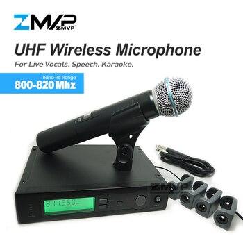 ZMVP UHF Professionelle SLX24 BETA58 Drahtlose Mikrofon Cordless SLX Karaoke System Mit Handheld Sender Band R5 800-820 mhz