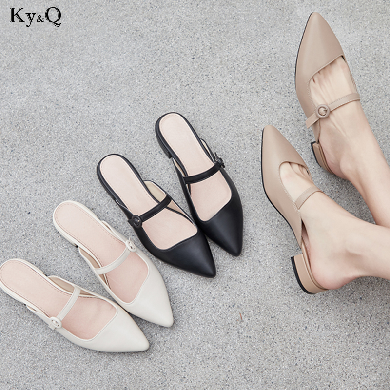 Summer New 2019 Womens European And American Fashion Thick Comfortable With Pointed Leather Baotou Wear Low Heel Flat SlippersSummer New 2019 Womens European And American Fashion Thick Comfortable With Pointed Leather Baotou Wear Low Heel Flat Slippers