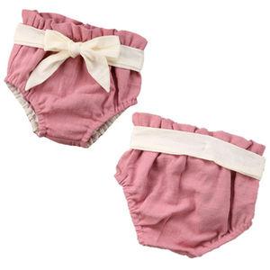 Детские короткие штаны, хлопковые однотонные кружевные шаровары с бантом, летние подгузники