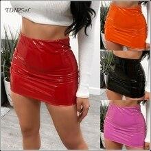Women Sexy PU Patent Leather Mini Skirt Elastic Waist Skinny Solid Color High Short Skirts Summer Ladys Slim PVC Latex New