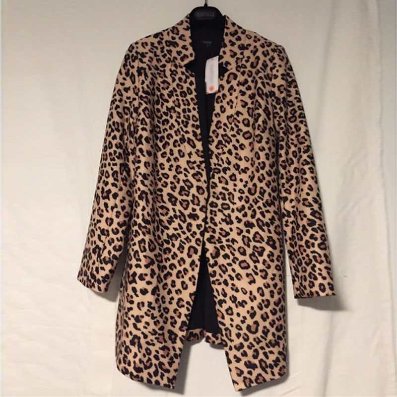 2020 Sexy Women Leopard Long Sleeve Coat Winter Warm New Wind Coat Cardigan Leopard Print Long Coat Women's Coats