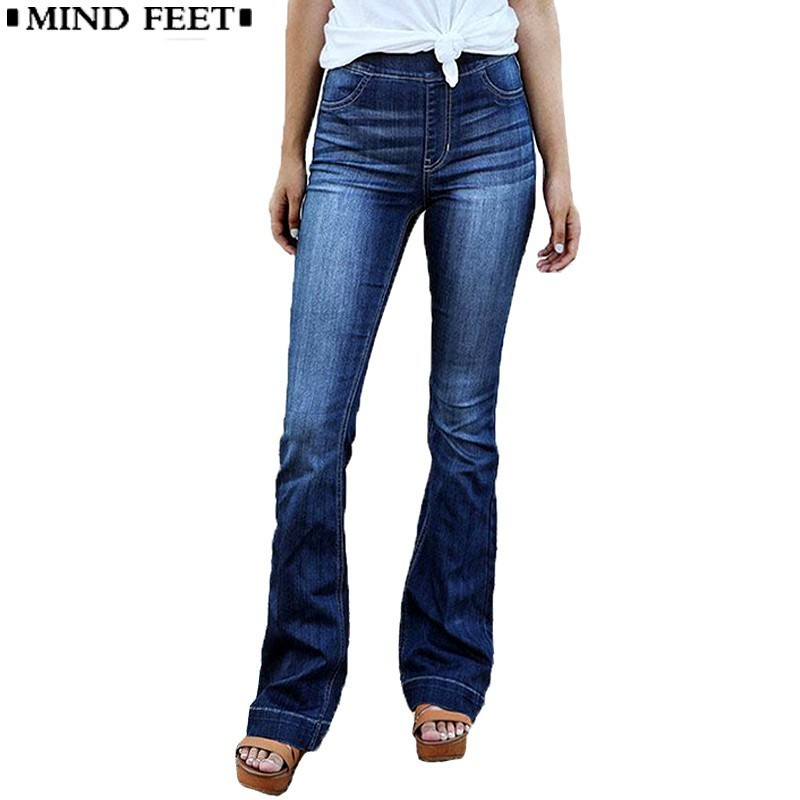 MIND FEET Women Flare   Jeans   Elastic Waist Blue Wide Leg Denim Pants Plus Size Female Fashion Trend Casual Loose Trousers Spring
