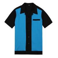 Button Down Shirt Patchwork Men's Shirts Casual Men Dress Shirts Regular Fit Short Sleeve Camiseta Retro Hombre Bowling Bahama