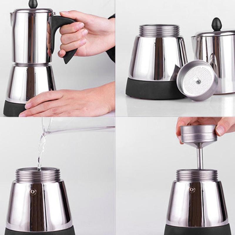 ステンレス鋼コーヒーポット電気モカコーヒーメーカーティーポットモカコンロツールフィルターパーコレーターカフェティエールパーコレーターツール EU  グループ上の 家電製品 からの コーヒーメーカー の中 1