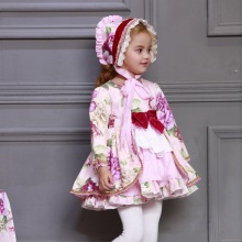 Детское изысканное платье с цветочным рисунком для девочек; Детские комплекты с длинными рукавами в испанском стиле; милое платье для дня рождения; одежда для малышей