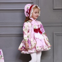 2019 Kids Boutique Floral Dress for Girls Children Spanish Palace Long Sleeve Gown Sets Baby Birthday Cute Gown Toddler Clothes