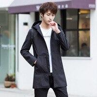 Весна и осень куртка мужской 2019 новый тонкий корейский с капюшоном Длинная ветровка молодежи сплошной цвет пальто Windswear