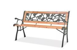 VidaXL High Quality Wooden Garden Bench With Nostalgic Design Outdoor Garden Use Relax Seat Rose Decorative Pattern Garden Chair