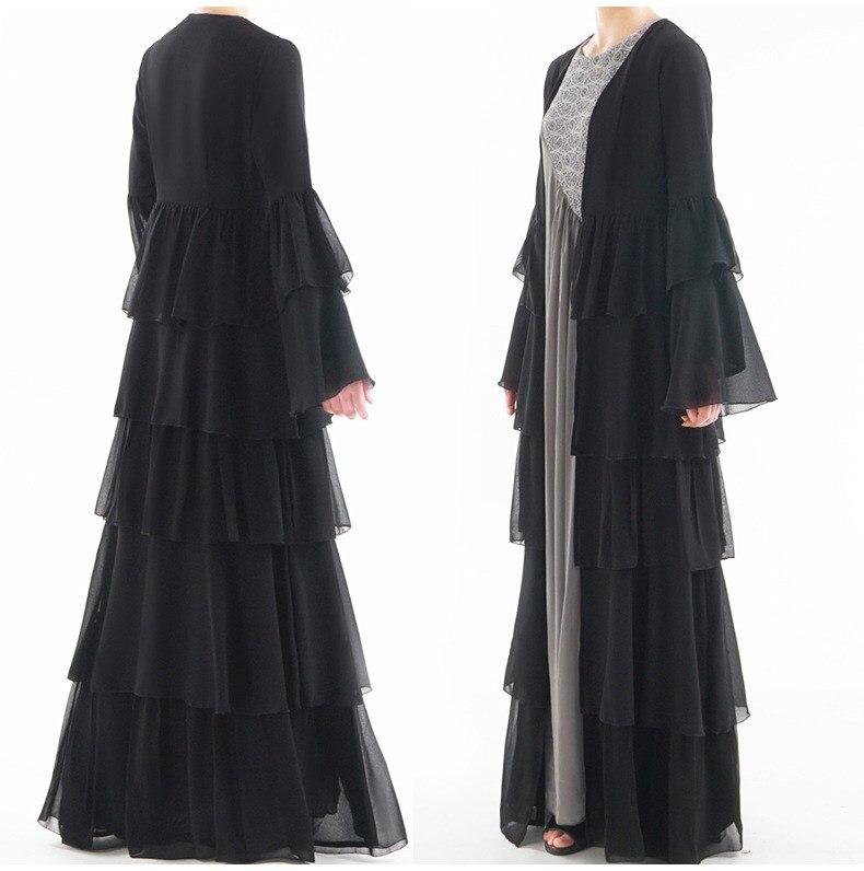 Élégant caftan en cascade à volants plissé en mousseline de soie robe Kimono musulman Cardigan robe lâche noir gâteau robe femmes dubaï turc