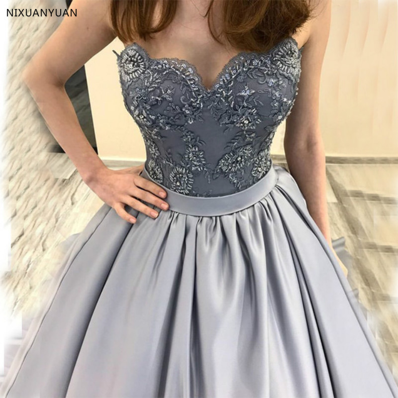 Elegant Sweetheart   Prom     Dresses   A-line Appliques Beaded Satin Skirt 2019 New Gray Vestidos De Formal Party Gowns   Prom     Dress