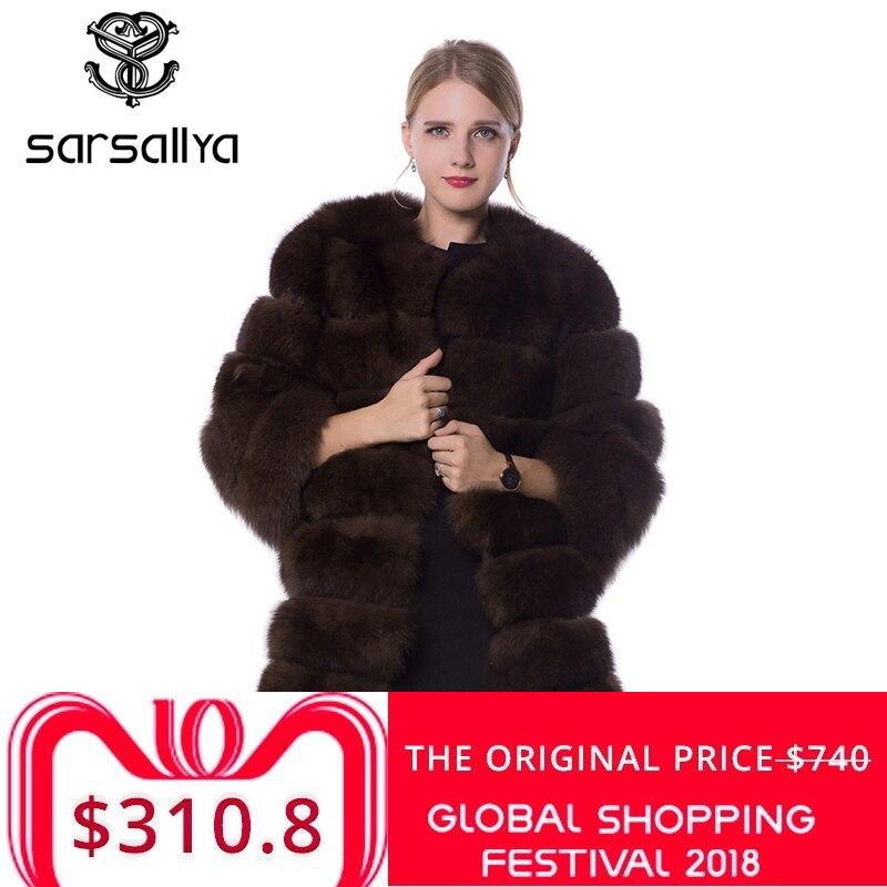 SARSALLYA real de piel de abrigo de piel de zorro diseño señoras invierno realmente abrigo de piel de zorro desmontable verdadero abrigo de piel de mujeres