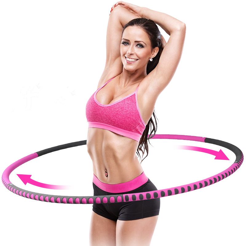 Detachable 6 Sections Foam Stainless Steel Sport Hoop Fitness Circle Lose Weight Home Exercise Fitness Crossfit Workout Equipmen
