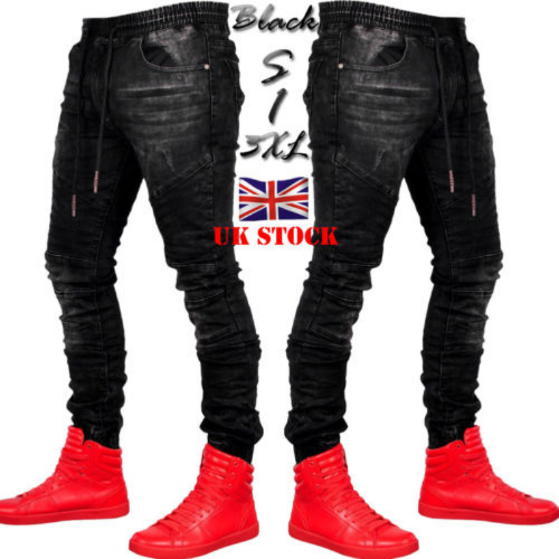 2019 Men Stylish Ripped Jeans Pants Biker Skinny Slim Straight Frayed Denim Trousers New Fashion Skinny Jeans Men Clothes