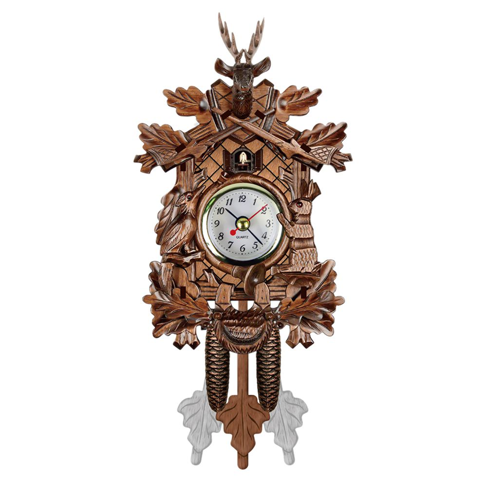 SOFT-Vintage Home Decorative Bird Wall Clock Hanging Wood Cuckoo Clock Living Room Pendulum Clock Craft Art Clock For New Hous
