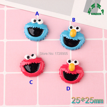 Resin Adorable Cabochons Sesame street Cartoon Character 10 pcs 25 mm Flatback Cabochon for Hair Bow Center, Scrapbooking