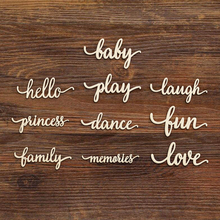 Laser Cut Script Wooden Baby Play Laugh Princess Love Art Sign Unfinished Wood Cutout Shapes Baby Shower 1st Party Decoration princess shapes cd