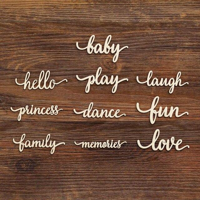 Écriture en bois découpé au Laser Baby Play | Signe dart de princesse, signe de amour, formes de découpe en bois inachevé, décoration réception-cadeaux pour bébé 1er fête