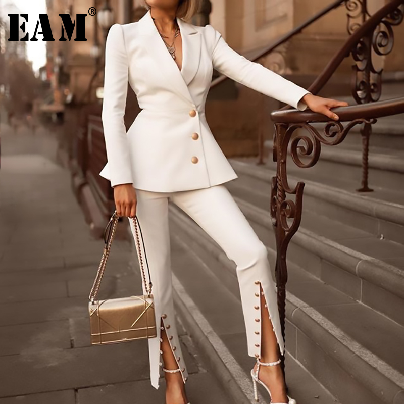 [EAM] 2019 New Spring Summer Lapel  Long Sleeve White Ruffles Loose Flare Pants Two Piece Suit Women Fashion Tide JR963