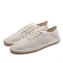 EXCARGO Casual Men Shoes Adult Fashion Breathable Light Loafers 2019 New Summer Solid Linen Lace Up Flat Shoes Men Oxfords Male