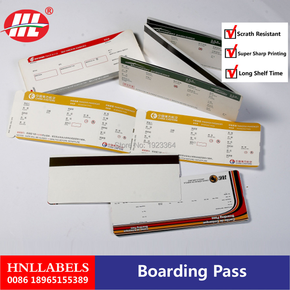 Manufactory Customized Paper Boarding Passes For Airline