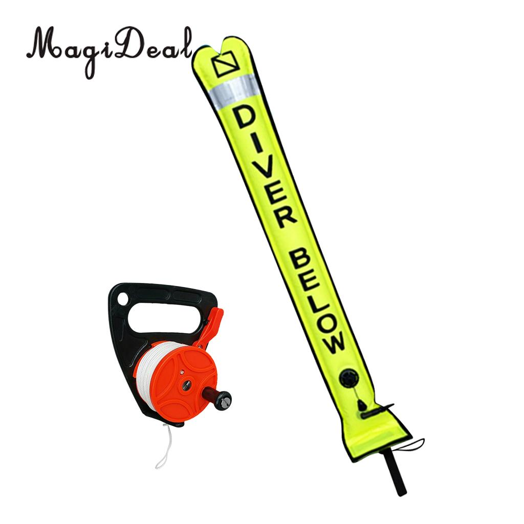 Scuba Diving Reflective Inflatable SMB Surface Marker Buoy Oral Inflator Dive Wreck Reel for Swimming Diving