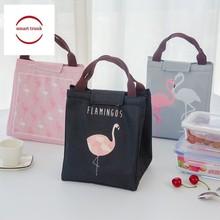 Bonamie Flamingo Tote Thermal Bag Black Waterproof Oxford Beach Lunch Food Picnic Bolsa Termica Women Kid Men Cooler New