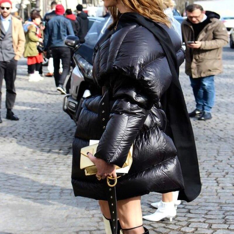 Hiver ewq Chaud Longues Femmes 2018 Patchwork Réglable Asymétrique Noir Manches Streetwear Taille Black Ac74901 Nouvelle À Mode Manteau rr5w6R