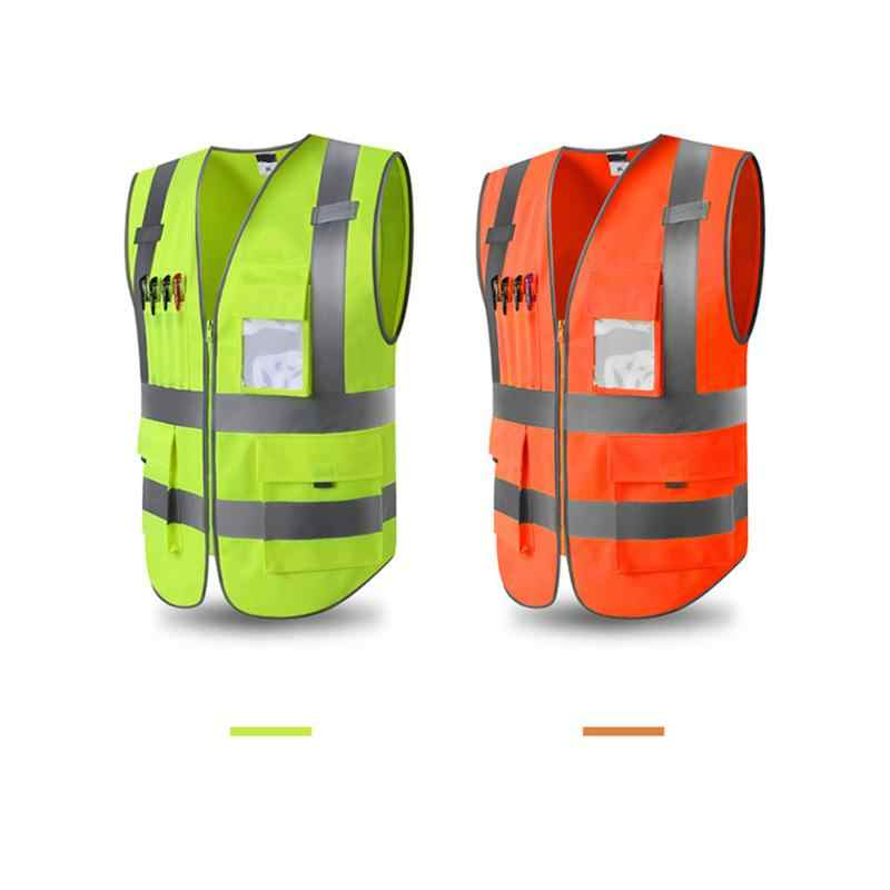 Unisex Outdoor Adjustable Hi-Vis Safety Vest Reflective Jacket Security Waistcoat Warp Knitting Cloth L-XXL