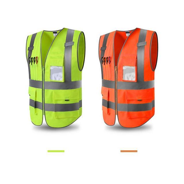 Unisex al aire libre ajustable Hi-Vis chaleco de seguridad chaqueta reflectante chaleco de seguridad urdimbre tejido de tela L-XXL