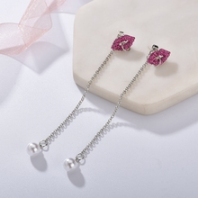 Trendy Ladies Asymmetry Pearl Earrings Women Shiny Crystal Sexy Red Lips Long Accessories Factory Wholesale