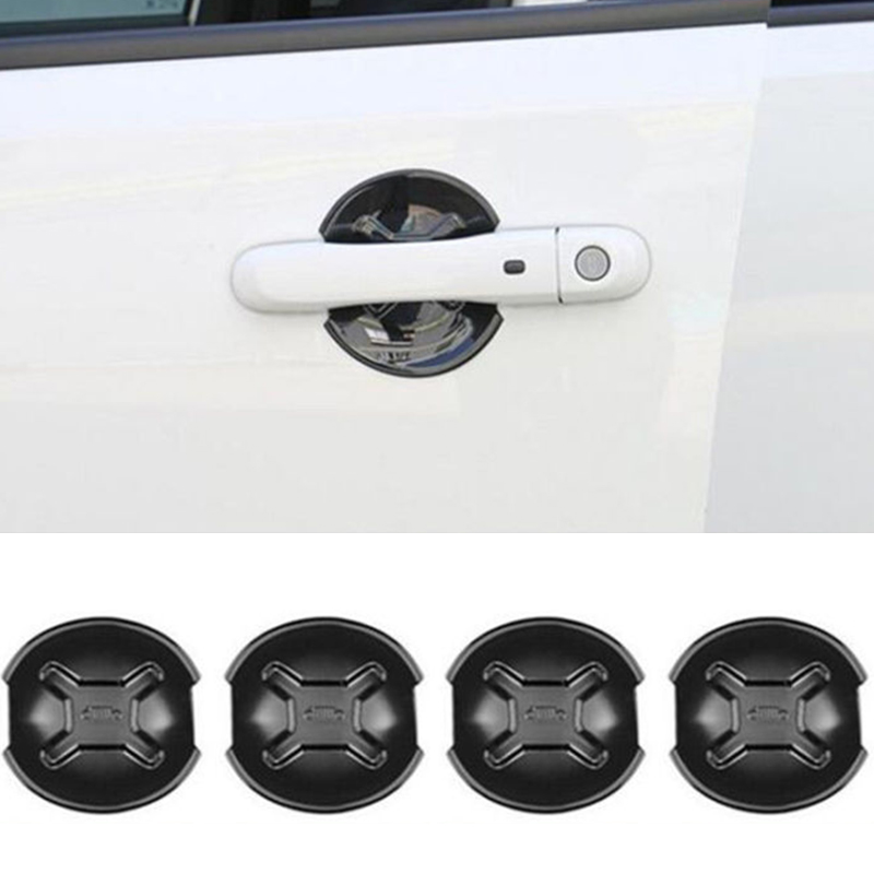 Image 2 - 4x ABS Black Car Door Handle Cover Bowl Trim For Jeep Renegade 2015 2018 Outlet Edge Scratch Guard Protector Accessories-in Chromium Styling from Automobiles & Motorcycles