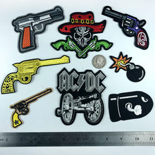 Bomb Cannon Human Skeleton Patches Iron On Cowboy Revolver Bullet Appliques Cartoon Back Rubber Embroidery Shoes Hats Badges(China)