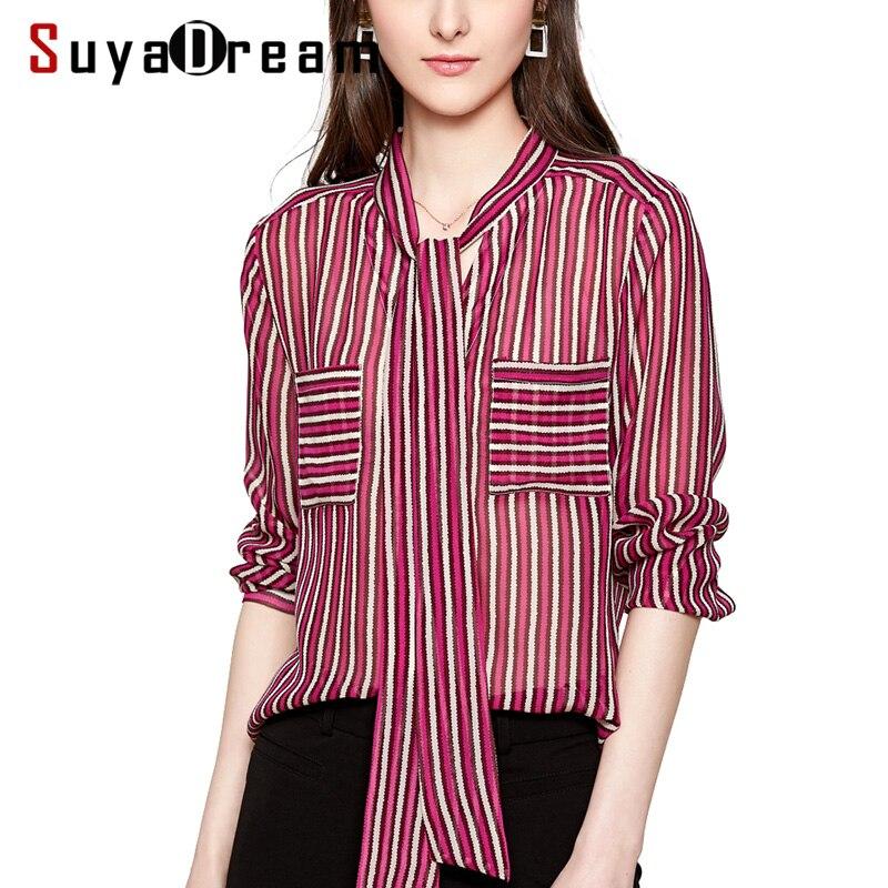 Women Silk   Blouse   100% REAL SILK CREPE Stripe   Blouses   for Women Bow Collar Long Sleeved   Shirt   2019 Spring New   Blouses     Shirt