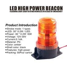 Bogrand luz de aviso de beacon rotativa, flexível led, balanço piscante para veículo, âmbar, farol estroboscópico, 24v, tráfego de luz de aviso